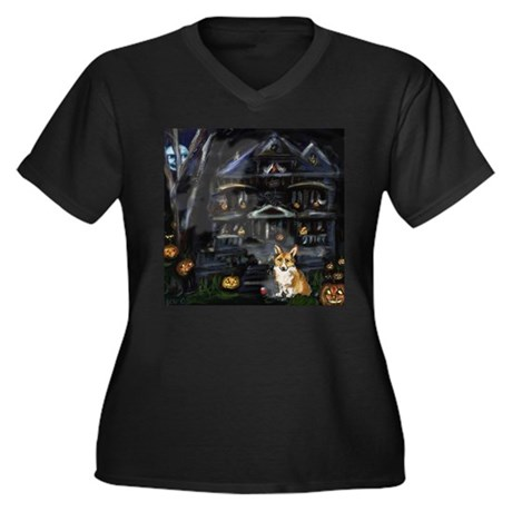 Halloween House Corgi Women's Plus Size V-Neck Dar