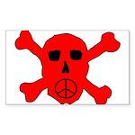 Peace Skull Rectangle Sticker 10 pk)