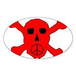 Peace Skull Oval Sticker (10 pk)