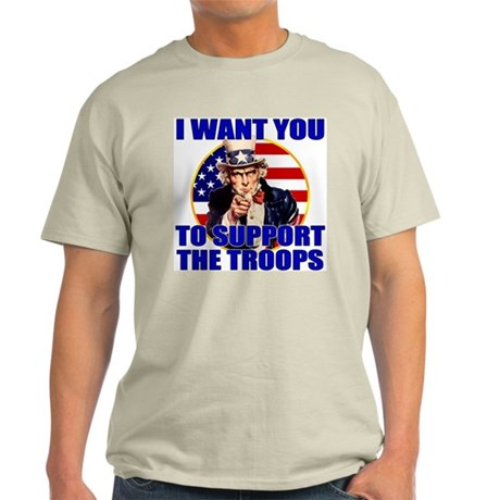 Uncle Sam Support the Troops Ash Grey T-Shirt