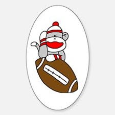 Sock Monkey and Football Oval Decal