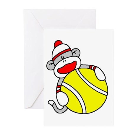 Sock Monkey with Tennis Ball Greeting Cards (Pk of