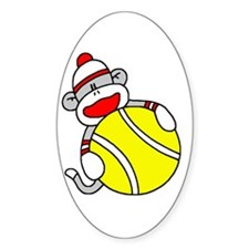 Sock Monkey with Tennis Ball Oval Decal