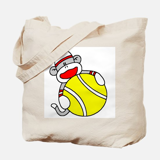 Sock Monkey with Tennis Ball Tote Bag