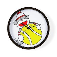 Sock Monkey with Tennis Ball Wall Clock