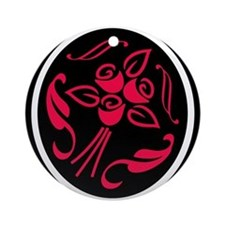 RED BLACK WHITE ROSE SILHOUET Ornament (Round)