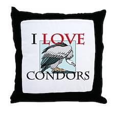 I Love Condors Throw Pillow