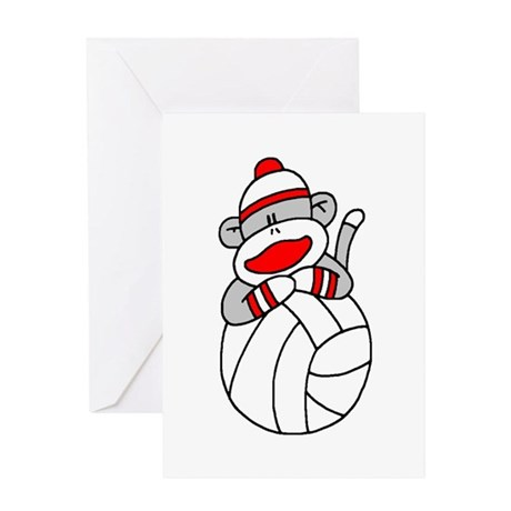 Sock Monkey Volleyball Greeting Card