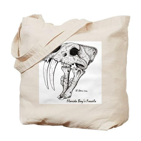 Fossil Saber-tooth Cat Skull Tote Bag