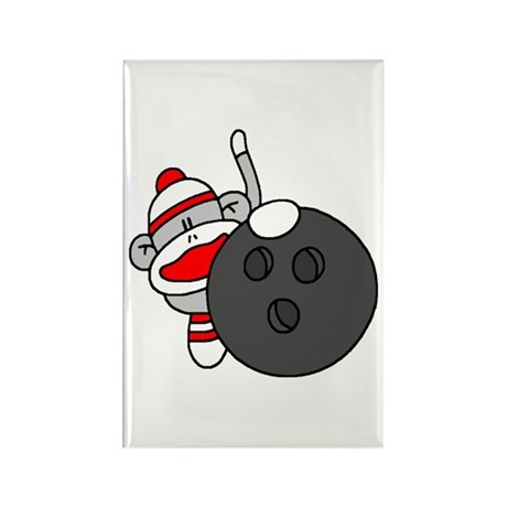 Sock Monkey with Bowling Ball Rectangle Magnet (10