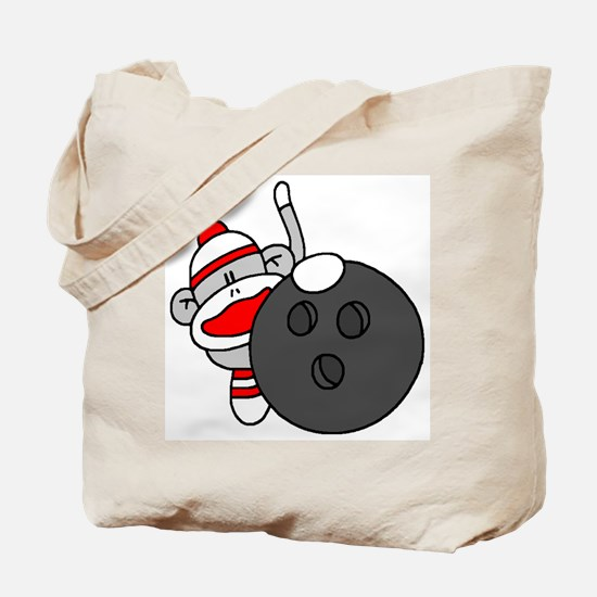 Sock Monkey with Bowling Ball Tote Bag