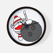 Sock Monkey with Bowling Ball Wall Clock