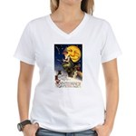 Witches Riding By Women's V-Neck T-Shirt
