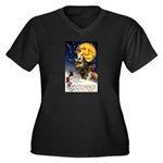 Witches Riding By Women's Plus Size V-Neck Dark T-