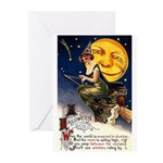 Witches Riding By Greeting Cards (Pk of 10)