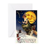 Witches Riding By Greeting Card
