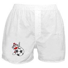Sock Monkey with Soccer Ball Boxer Shorts