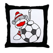 Sock Monkey with Soccer Ball Throw Pillow