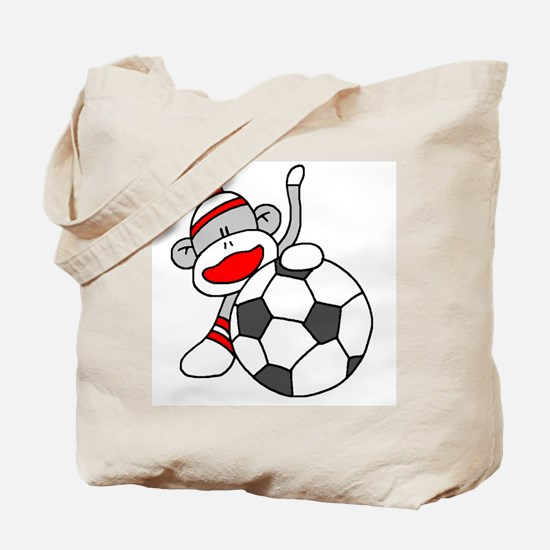Sock Monkey with Soccer Ball Tote Bag