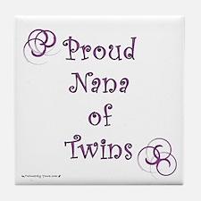 Proud Nana of Twins PRP Tile Coaster