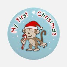 Baby's First Christmas Monkey Ornament (Round)