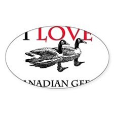 I Love Canadian Geese Oval Decal