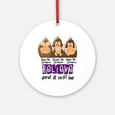 See Speak Hear No Epilepsy 3 Ornament (Round)
