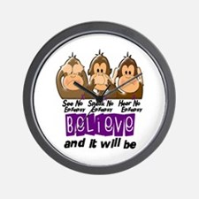 See Speak Hear No Epilepsy 3 Wall Clock