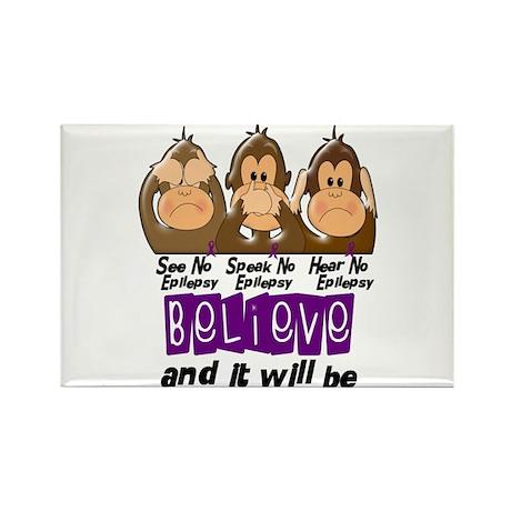 See Speak Hear No Epilepsy 3 Rectangle Magnet