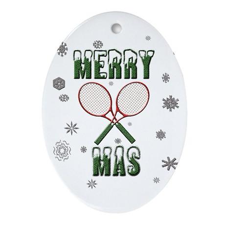 Tennis Merry Christmas Oval Ornament