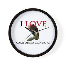 I Love California Condors Wall Clock