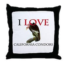I Love California Condors Throw Pillow