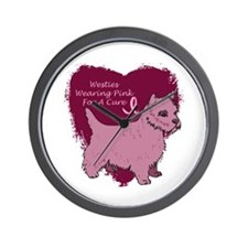 Pink Ribbon Westie Wall Clock