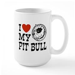 I Love My Pit bull Large Mug