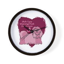 Pink Ribbon Shih Tzu Wall Clock