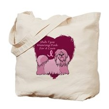 Pink Ribbon Shih Tzu Tote Bag