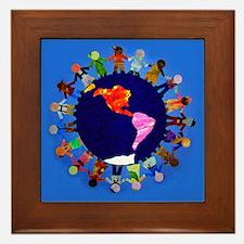 Peaceful Children around the World Framed Tile