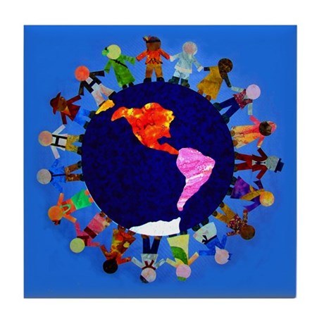 Peaceful Children around the World Tile Coaster