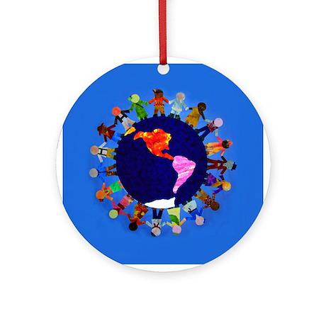 Peaceful Children around the World Round Ornament