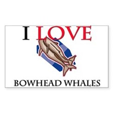 I Love Bowhead Whales Rectangle Decal
