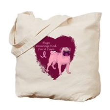 Pink Ribbon Pug Tote Bag