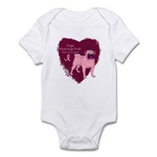 Pink Ribbon Pug Infant Bodysuit