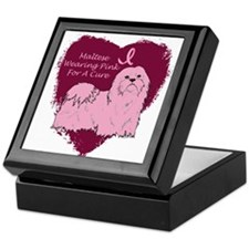Pink Ribbon Maltese Keepsake Box