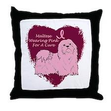 Pink Ribbon Maltese Throw Pillow