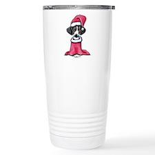 Holiday Piebald Doxie Travel Mug