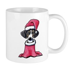 Holiday Piebald Doxie Mug