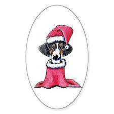 Holiday Piebald Doxie Oval Sticker (10 pk)