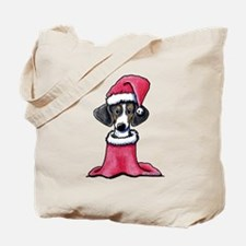 Holiday Piebald Doxie Tote Bag