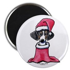 Holiday Piebald Doxie Magnet