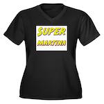 Super martina Women's Plus Size V-Neck Dark T-Shir
